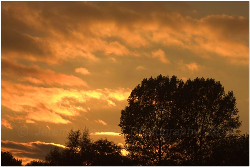 Golden autumn sunset on a cloudy day
