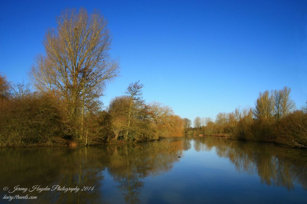 Clear view of the lake and blue skies after the UK Storms