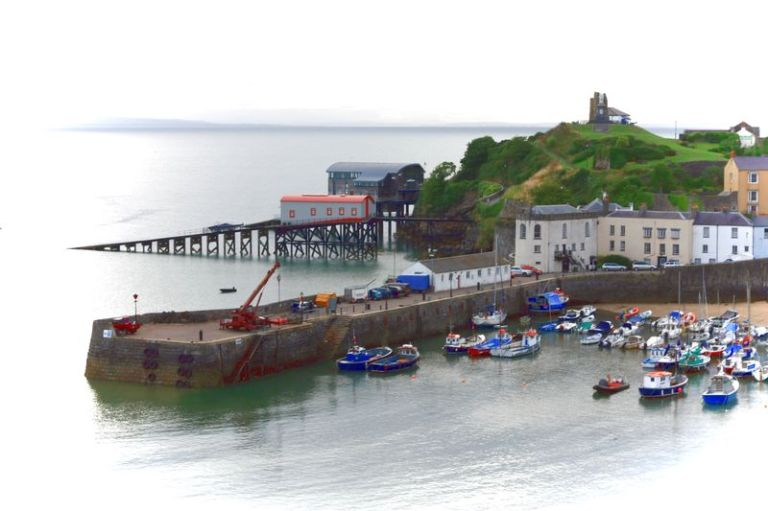 Tenby Harbour and Castle Hill.