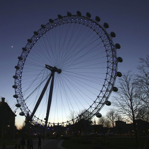 London Eye and New Moon - Travels of the Hairy 1