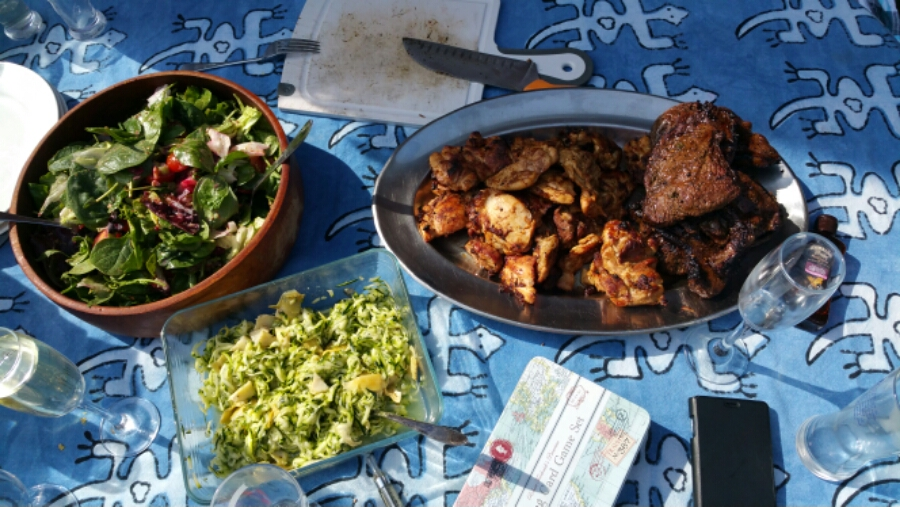 Braai time. Steak, chicken and salad perfectly grilled over the coals (we ate the sausages first).