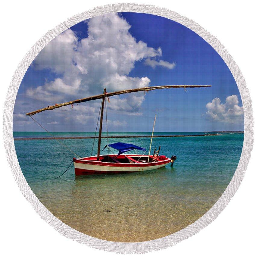 Round Beach Towel - Magaruque sailboat