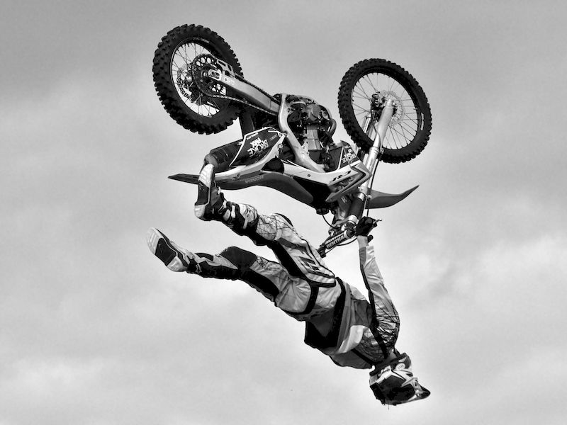 Flying inverted on a motorcycle
