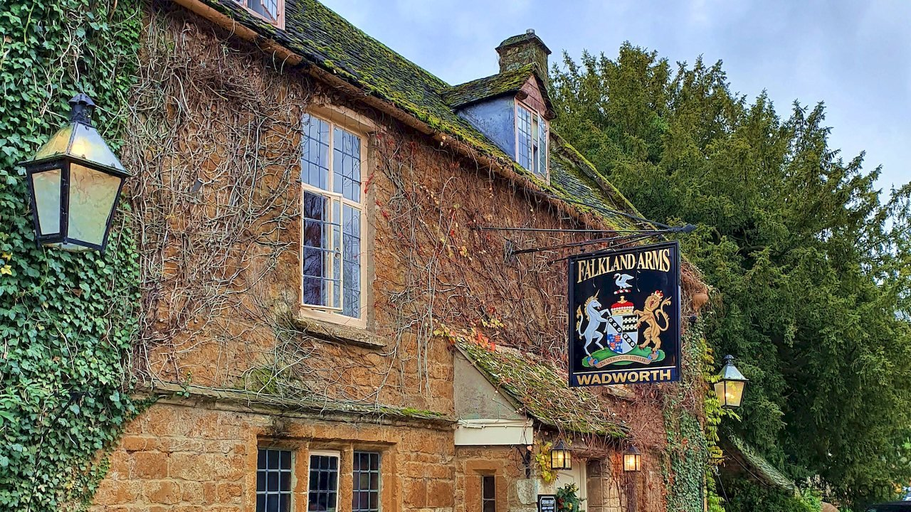 Falkland Arms Pub in Great Tew, Oxfordshire.