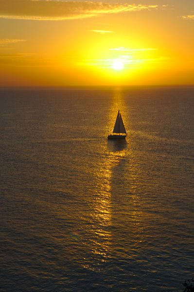 Sailing out in the sunrise