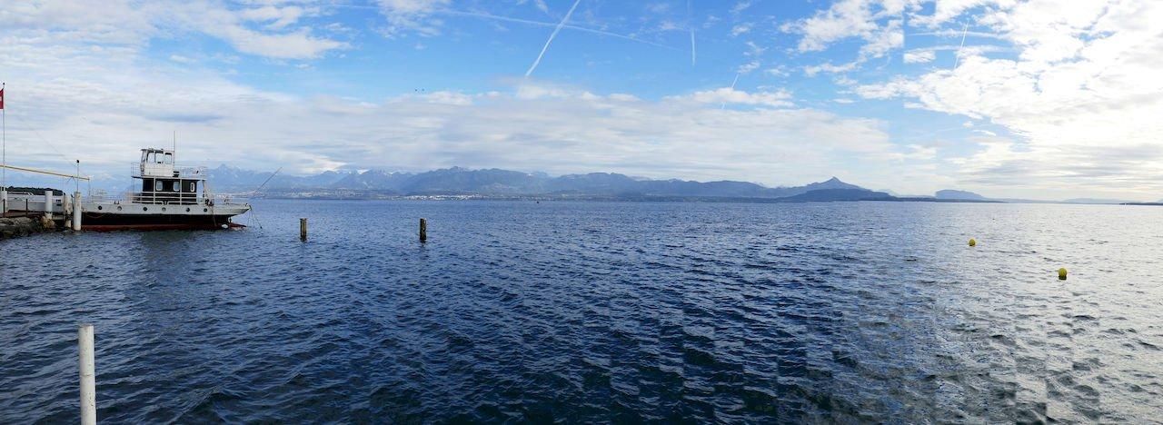 Panorama of Lake Geneva from Perroy Beach