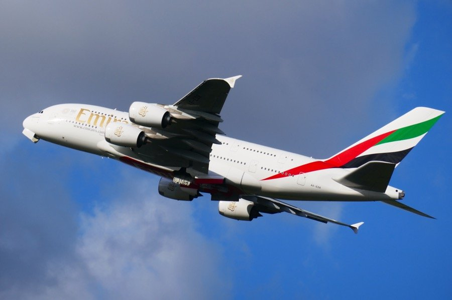 A Emirates A380 taking off from Heathrow, London, terminal 5.