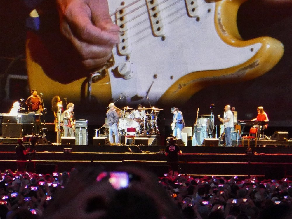 Eric Clapton and Carlos Santana on stage in Hyde Park