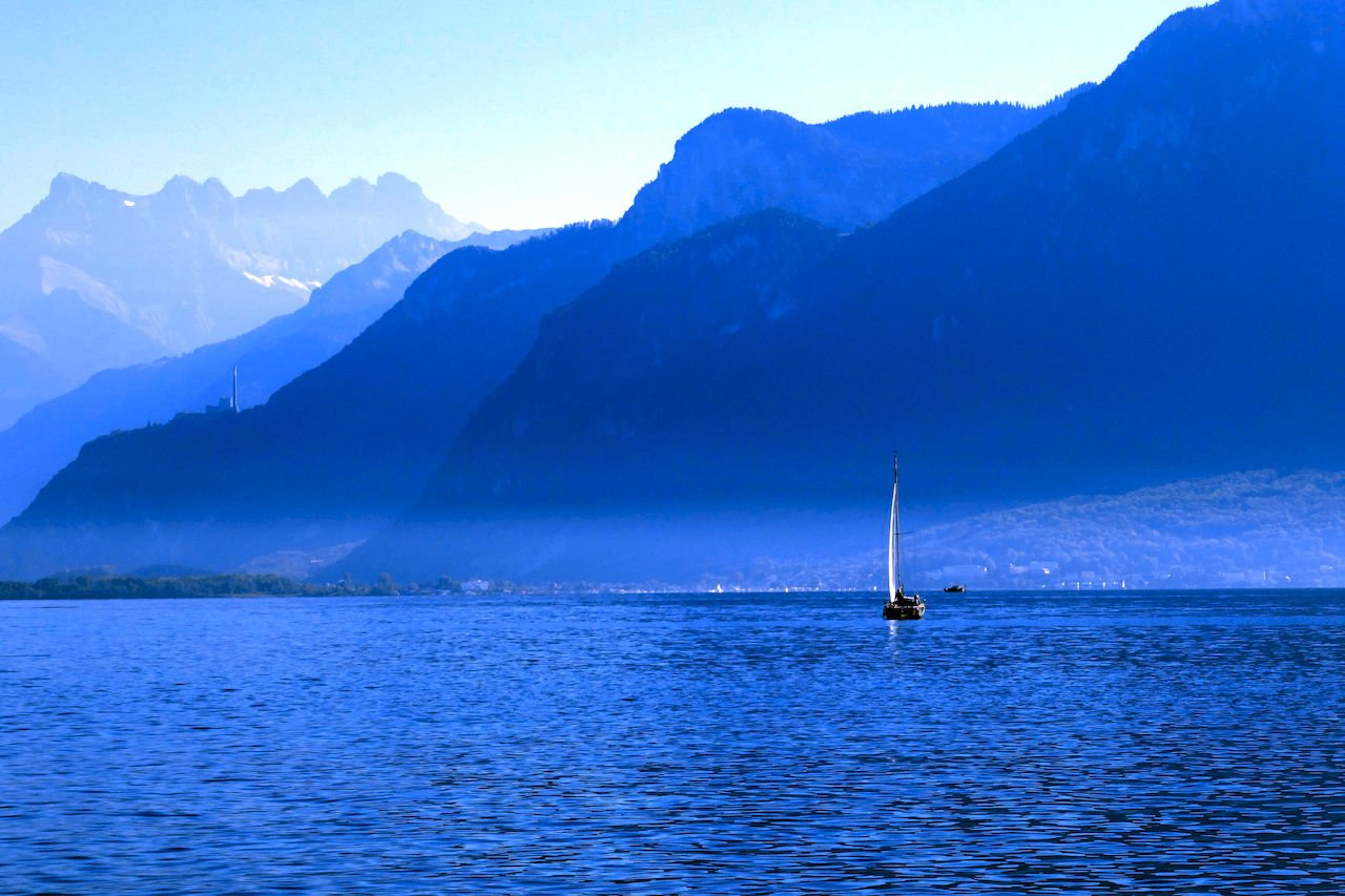 Blue Mountains in France across Lake Geneva. Available as photo art