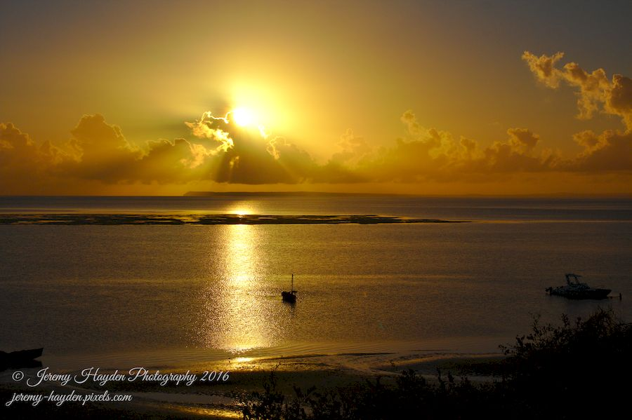 Golden Sunrise on Christmas day over the Bazaruto Archipelago, Vilankulos, Mozambique