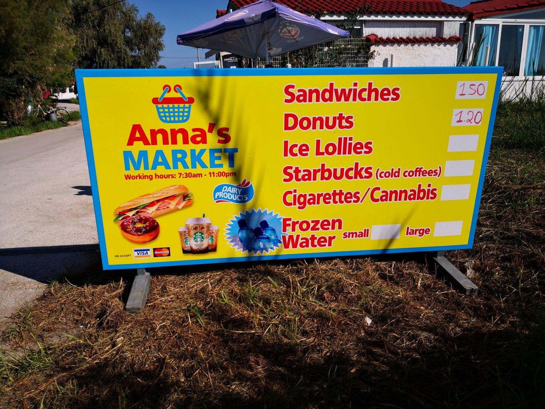 "Anna's Market - there's ""cannabis"". Zakynthos - Kalamaki beach."