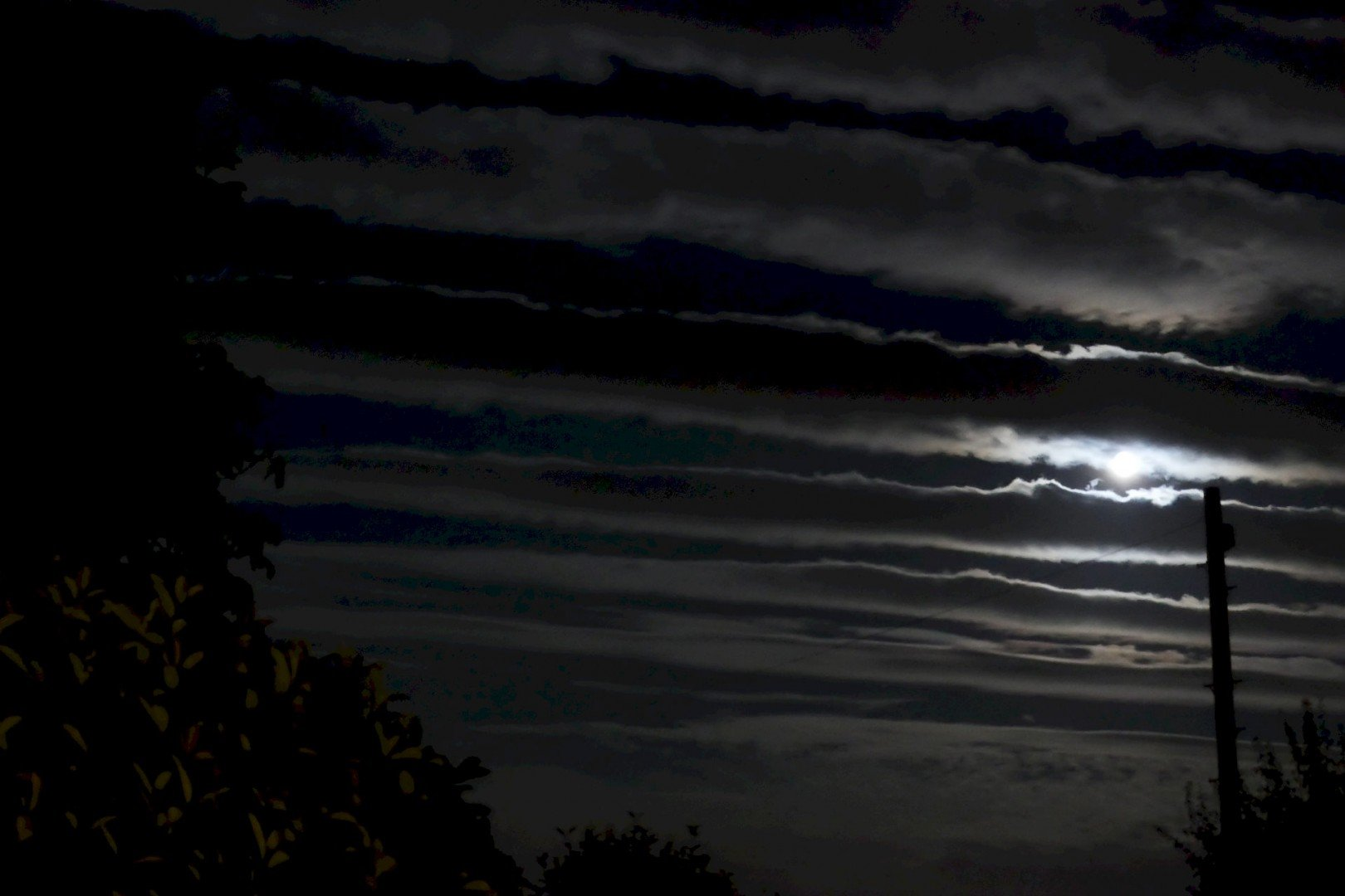 A river of Clouds in the moonlit sky.