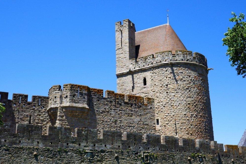 Outside the old walled citadel, La Cité, at Carcassonne.