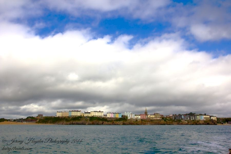 Tenby in Pembrokeshire, Wales under clouds