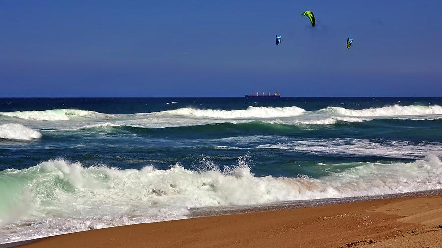 Kitesurfing at Umhlanga, near Durban, in kwaZulu-Natal, South Africa