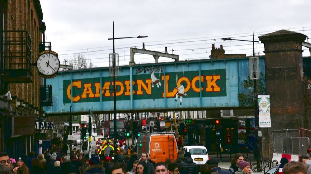 Camden Lock - looking down the street as you arrive in Camden Town.