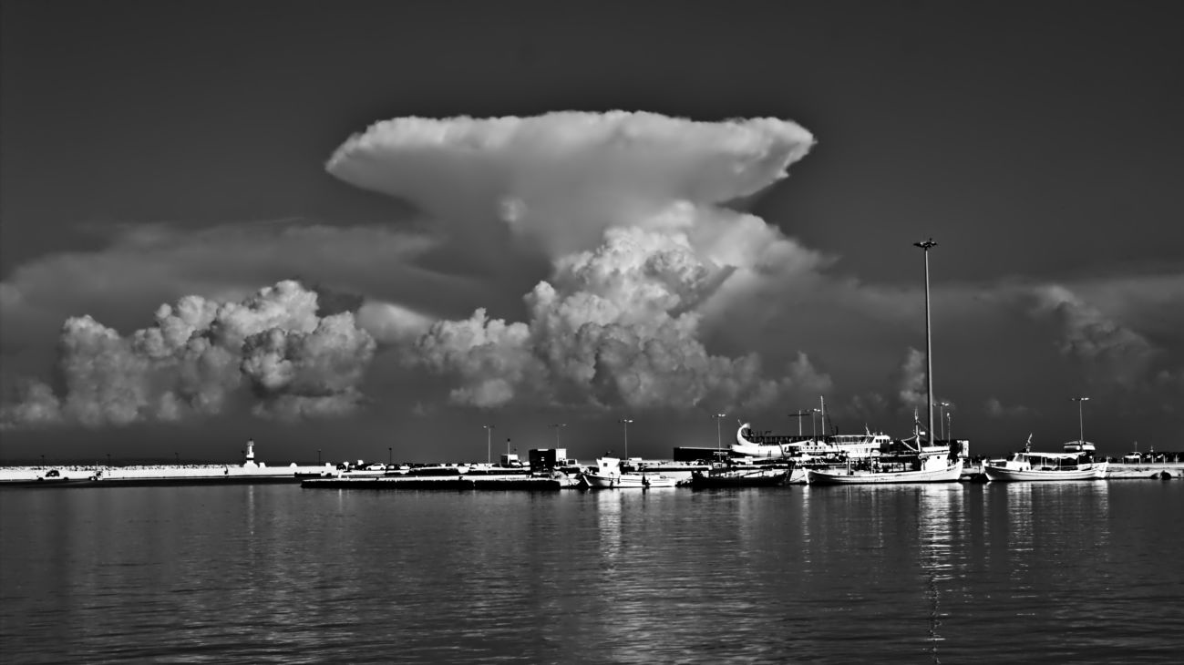 Zakynthos cloudscape in black and white to show off the bold shapes.