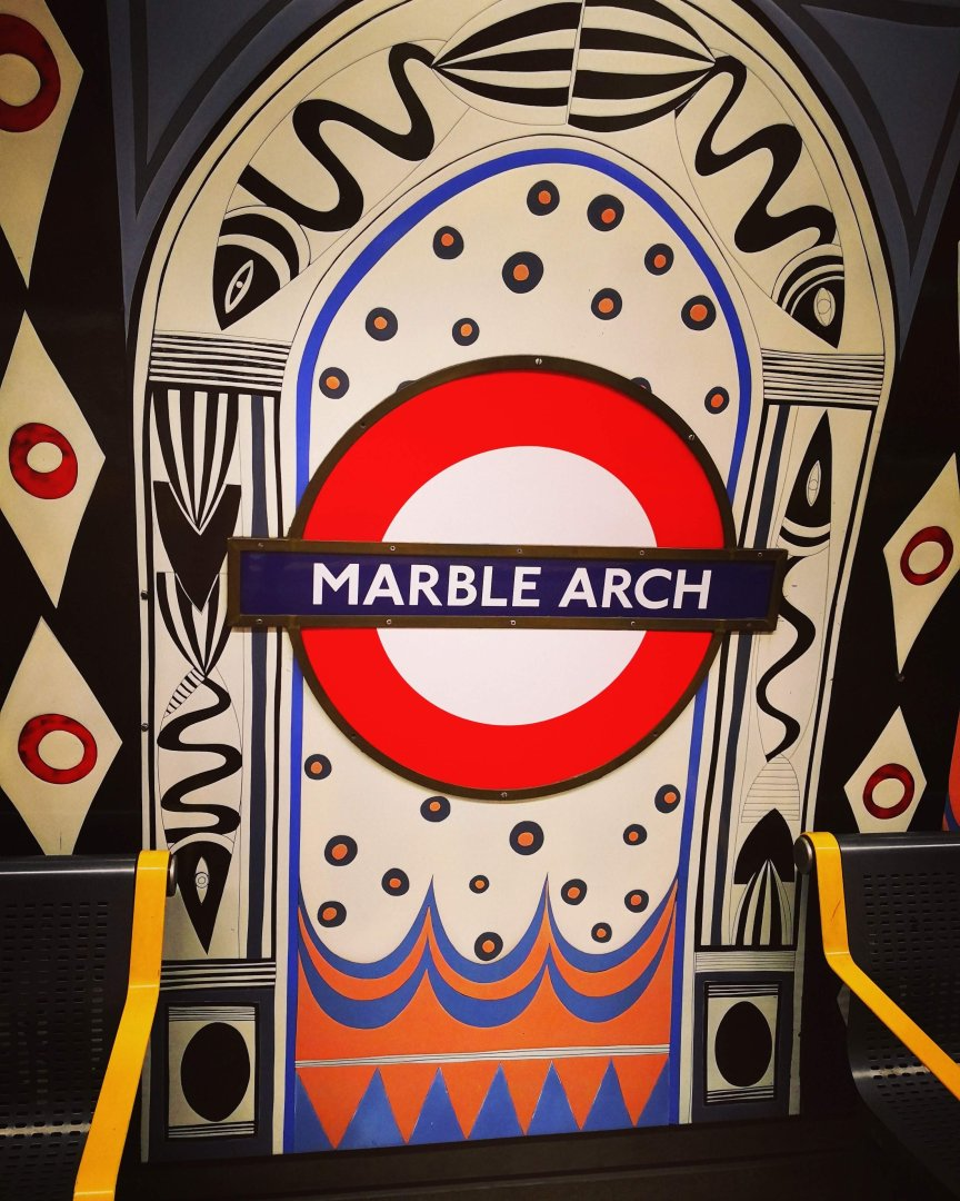 Artistic Station Sign at Marble Arch Underground Station in London