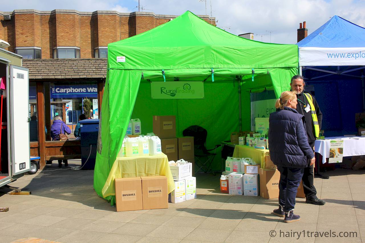 Rural Trading - getting rid of the single use plastic in practical ways. Holistic harborough Festival in The Squaare.