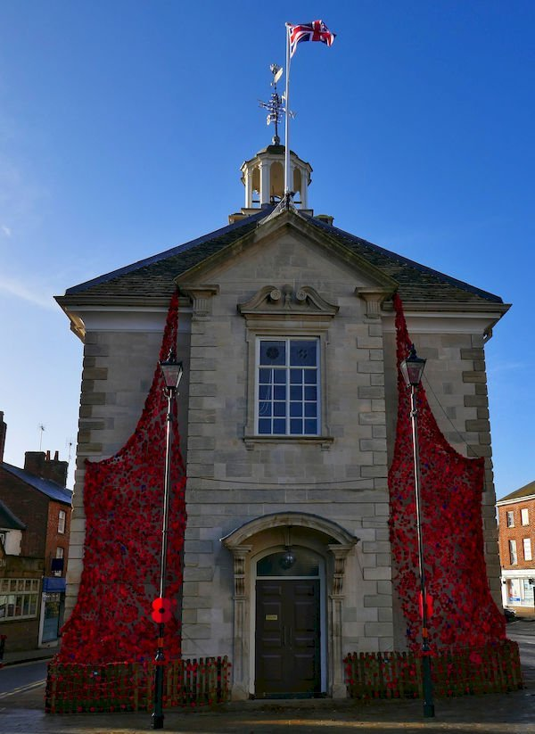 Brackley Town Hall Adorned with Poppies