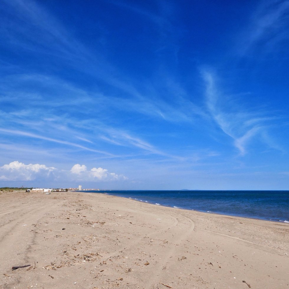 A big blue sky over Valras Plage in he South of France.
