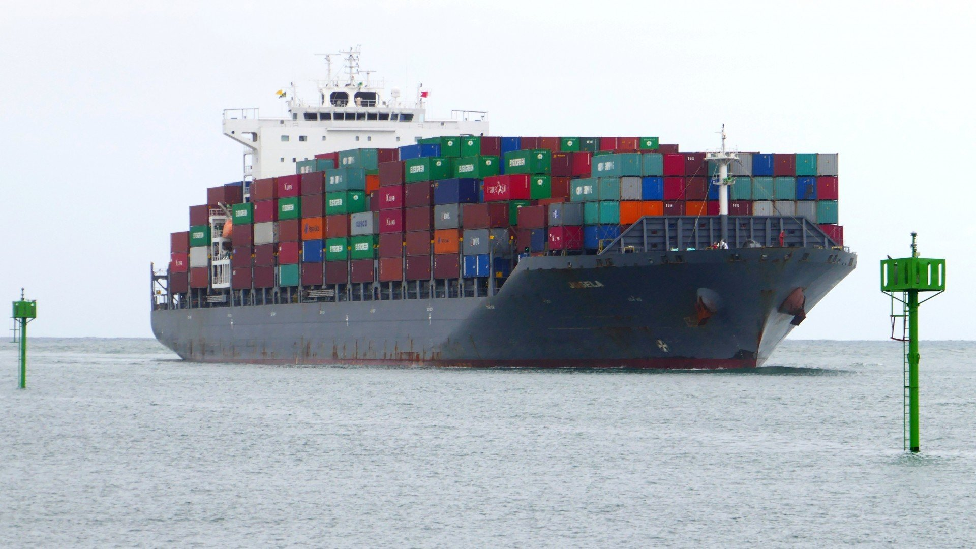 Portuguese registered container vessel Jogela in Durban harbour mouth