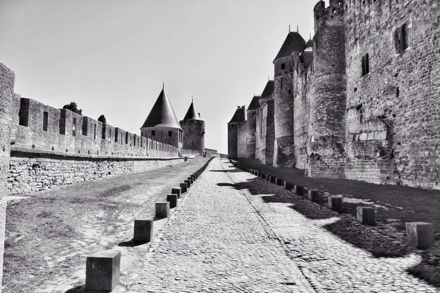 Walls of the old Cité Carcassonne in the South of France.