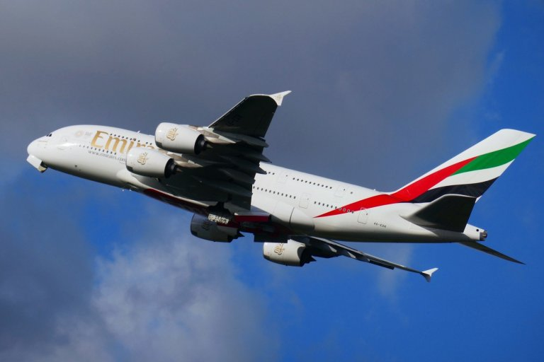 Flying Away -gear up - Airbus A380 taking off at Heathrow terminal 5