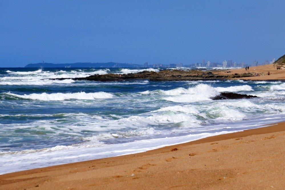 Rough seas on the beach at Umdloti, looking towards Durban.