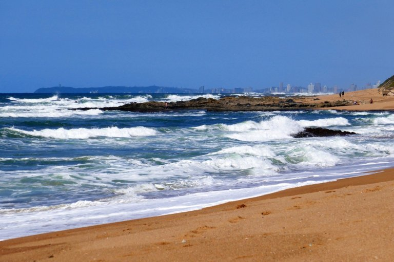 Rough seas on the beach at Umdloti, looking towards Durban.