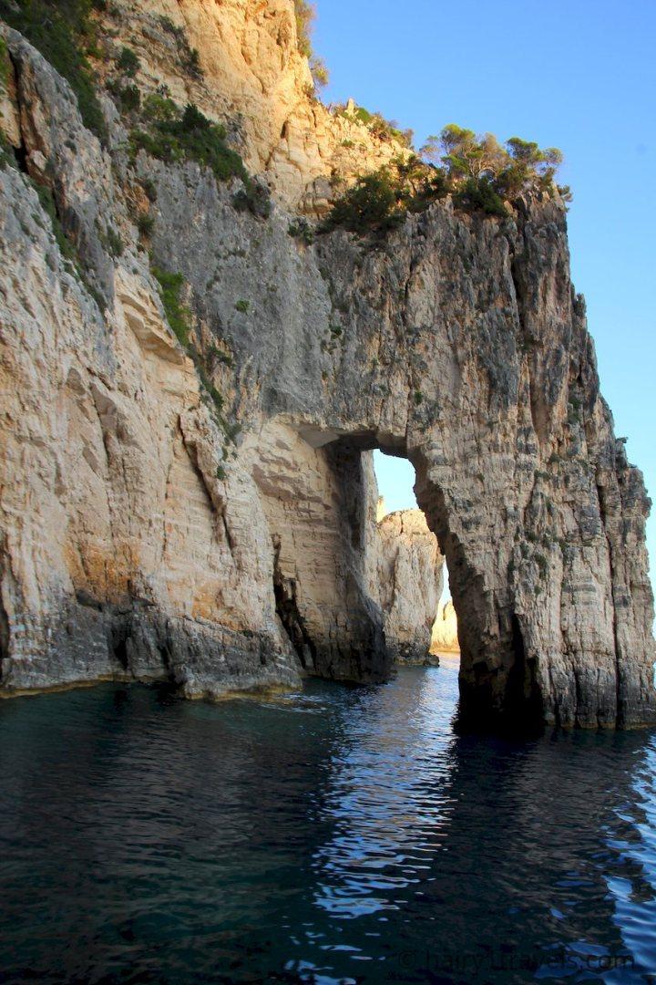 Arch in the rocks on Marathia Cape, Zakynthos