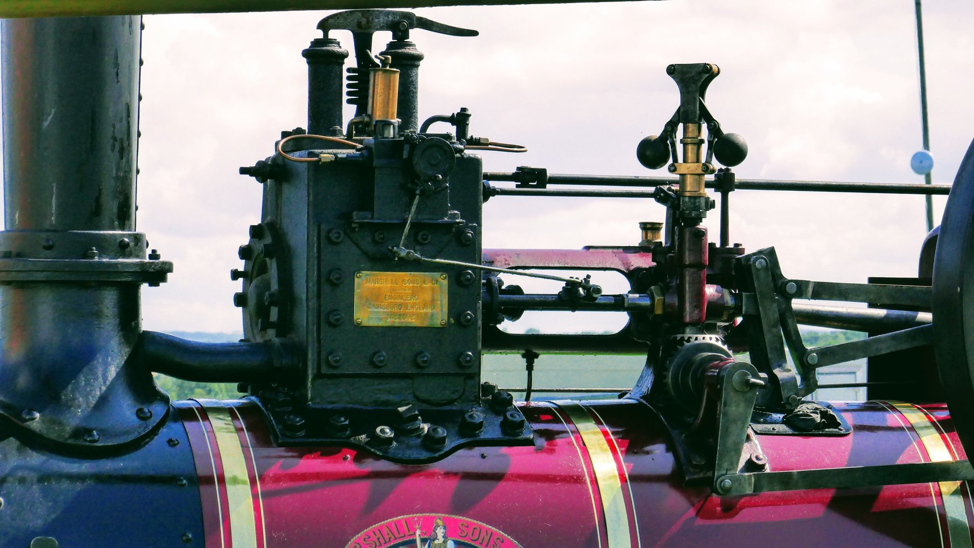 Working parts of a beautiful old steam traction engine.