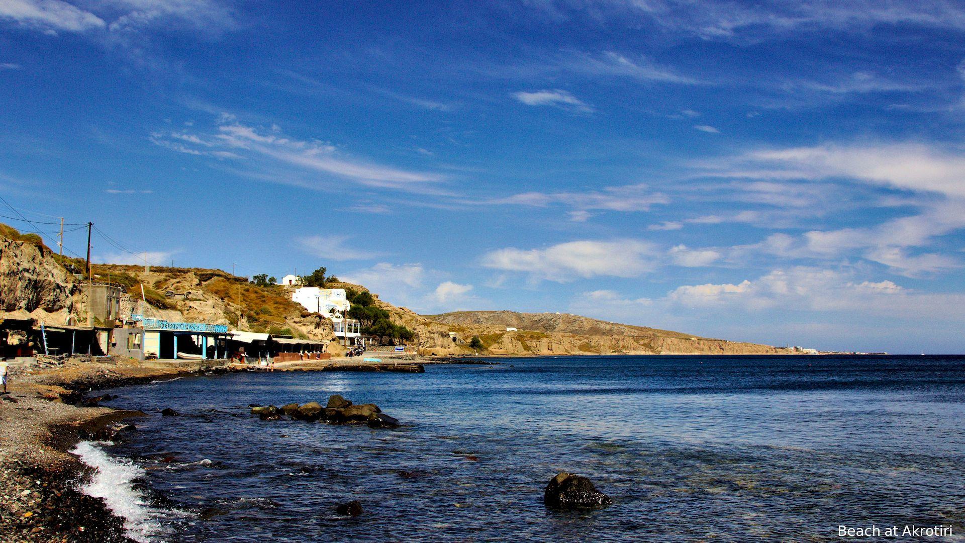 A beach at Akrotiri in Santorini, Greece