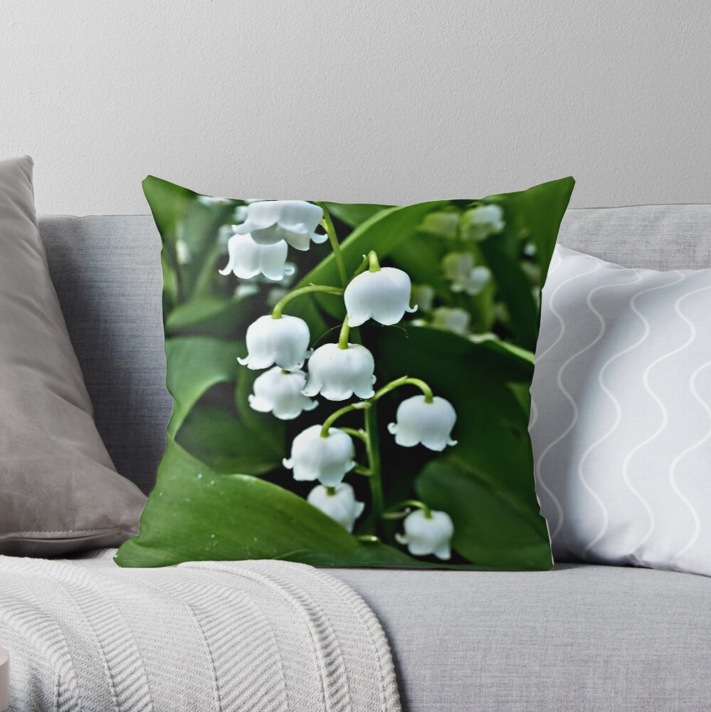 Lily of the Valley throw pillow available on Redbubble.