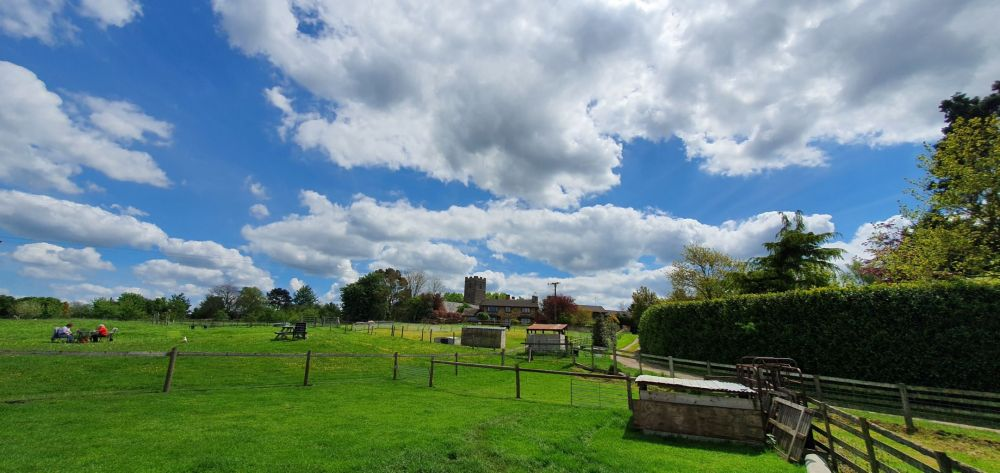 Blue skies over Limes Farm in Farthinghoe.