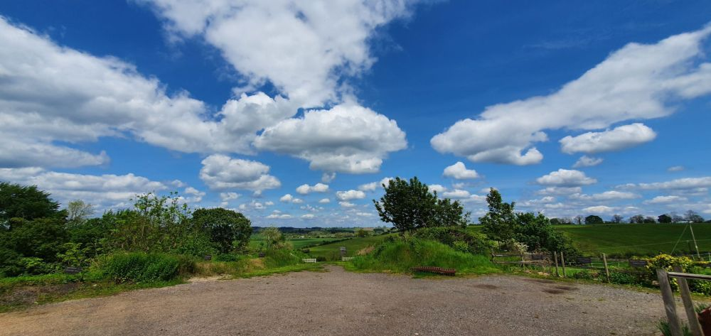 Blue skies and open countryside at Limes Farm in Northaptonshire.