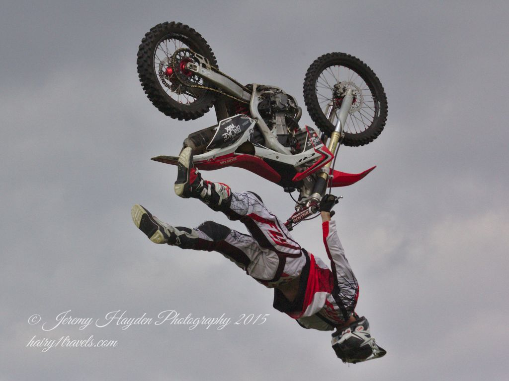Broke FMX motorcyle flying through the air - upside down!